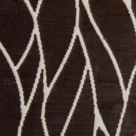 Enzo - Charcoal - A simple, elegant pattern created by thin white lines sweeping over dark brown-black bemberg and cotton blend fabric