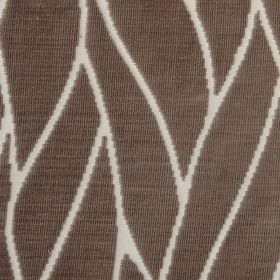 Enzo - Mushroom - Bemberg and cotton blend fabric made in brown-grey, with an elegant pattern of thin, curving lines in off-white