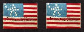 God & My Country - Multi - Black 100% cotton fabric behind a red, white and light blue design of American stars and stripes flag style desig