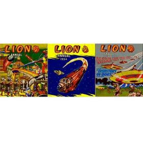 Lion - Multi - Bright, multicoloured, retro advertising images creating a fun design on fabric made from 100% cotton