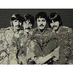 Fab4 Large - Anthracite - Black cotton fabric with grey colour printed pattern of the Beatles
