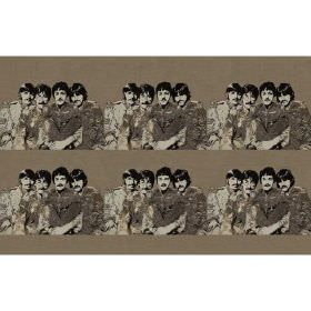 Fab4 Small - Taupe - Taupe cotton fabric with printed pattern of the Beatles