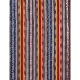 Helter Skelter - Multi - Cotton fabric with blue, black and orange and red stripes