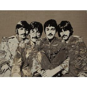 Fab4 Large - Taupe - Taupe cotton fabric with printed pattern of the Beatles