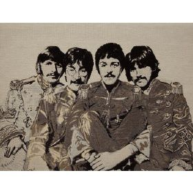 Fab4 Large - Ecru - Light grey cotton fabric with printed pattern of the Beatles