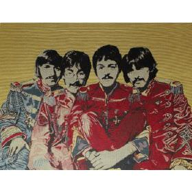 Fab4 Large - Multi - Green cotton fabric with red colour printed pattern of the Beatles