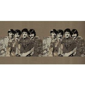 Fab4 Medium - Taupe - Taupe cotton fabric with printed pattern of the Beatles