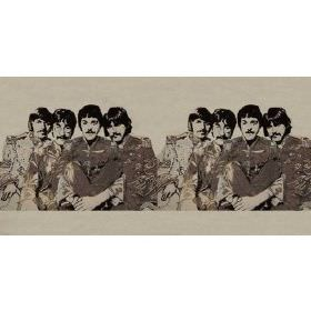 Fab4 Medium - Ecru - Light grey cotton fabric with printed pattern of the Beatles