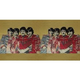 Fab4 Medium - Multi - Green cotton fabric with red colour printed pattern of the Beatles