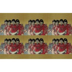 Fab4 Small - Multi - Green cotton fabric with red colour printed pattern of the Beatles