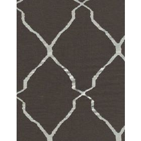 Escher - Charcoal - Silver ribbon-like lines running diagonally in both directions across dark grey coloured fabric