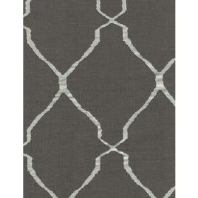 Escher - Shadow - Dark grey fabric patterned with diagonal lines in both directions which resemble light grey-silver ribbons