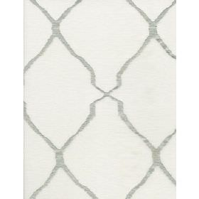 Escher - Ivory - Wavy lines resembling grey ribbons printed on white fabric in both diagonal directions