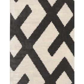 Fitzroy - Grey - Cream and charcoal coloured lines printed to form a pattern on this fabric