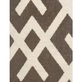 Fitzroy - Buff - Fabric patterned with dark brown-grey and cream coloured lines