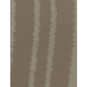 Lowndes - Sand - Striped brown and grey fabric made from linen, with the stripes having uneven, undefined edges