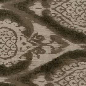 Aurea - Taupe - Light brown-grey 100% linen fabric behind large, repeated, ornately swirling patterns printed in dark chocolate brown