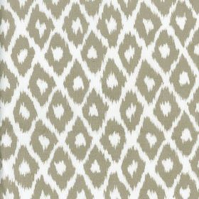 Clerici - Taupe - Cement grey and white coloured 100% cotton fabric printed with rows of simple diamonds finished with rough, uneven edges