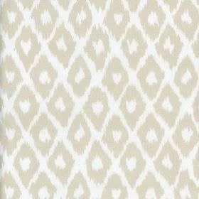 Clerici - Neutral - Fabric made from 100% cotton, printed with rows of simple diamonds with rough, uneven edges in white and pale grey-beige