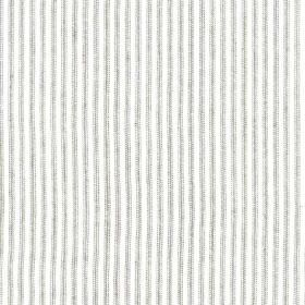 Como - Cloud - Thin silver-grey coloured lines creating a simple, narrowly spaced pattern over white fabric made from 100% linen