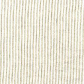 Como - Neutral - 100% linen fabric featuring a thin, simple, closely spaced vertical line design in off-white and light grey
