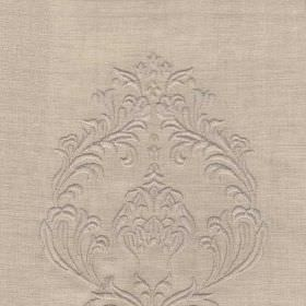 DEste - Natural - Elegant putty coloured linen and wool blend fabric patterned with stylish, sophisticated, subtle, detailed swirls