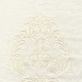 DEste - White - Bright white linen and wool blend fabric featuring detailed swirls arranged in an elegant, sophisticated, subtle pattern