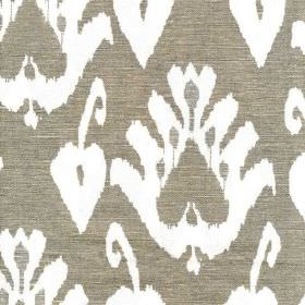 Giza - Taupe - Large white tribal style patterns arranged on a battleship grey coloured linen and cotton blend fabric background