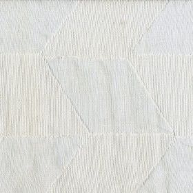 Gregoriana - White - Very subtle solid & vertically striped rhombuses arranged repeatedly on 100% linen fabric in very pale blue-grey & whit