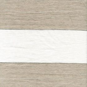 Bagatti - Natural - Horizontally striped fabric made from 100% linen, featuring wide bands in white and brown-grey