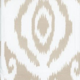 Marquis - Neutral - Large, stylish, abstract patterns with rough, uneven edges covering white and light grey-beige coloured 100% cotton fabric