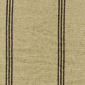 Materassi - Storm - Groups of three thin solid black vertical lines arranged over light sandy brown coloured viscose and linen blend fabric