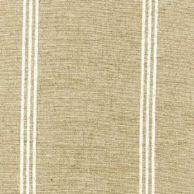 Materassi - Chalk - Pebble coloured viscose and linen blend fabric patterned with widely spaced groups of three thin vertical white lines
