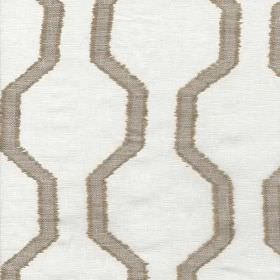 Monastero - Natural - Chrome grey coloured angular wavy lines creating a geometric style stripe design on off-white 100% linen fabric