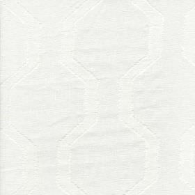 Monastero - White - 100% linen fabric finished with a very subtle angular, geometric style stripe design in bright paper white