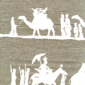 Timbuktu - Taupe - Bright white people and camel train silhouettes arranged in rows on dark iron grey coloured linen and cotton blend fabric