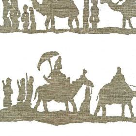 Timbuktu - White - A pattern of dark iron grey silhouettes of people and camel trains printed on whtie linen and cotton blend fabric