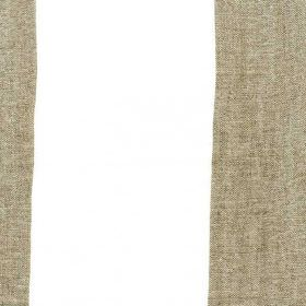 Bellagio - Linen - Dark shades of brown and grey blended together into wide vertical stripes on a bright white 100% linen fabric background