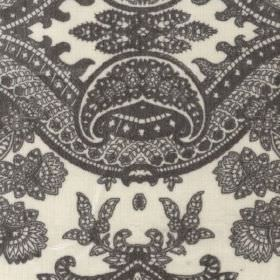 Bohemia - Grey - Very detailed, intricate, charcoal coloured patterns on very pale grey-white viscose, cotton and polyester blend fabric