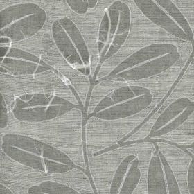 Brunswick - Charcoal - Simple steel grey coloured leaves sweeping over light grey 100% linen fabric, finished with paper appliqué
