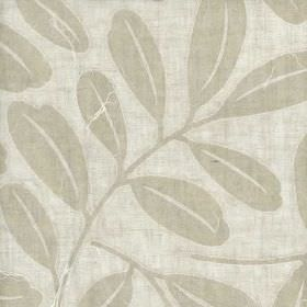 Brunswick - Natural - Ice grey coloured 100% linen fabric featuring a large, simple, light grey coloured leaf design and paper appliqué