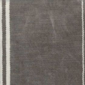 Elgin Stripe - White - Widely spaced vertical white lines running down a lead grey coloured 100% viscose fabric background