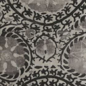 Iznik - Charcoal - Very detailed, intricate, dark grey, light grey and black coloured patterns printed on 100% viscose fabric