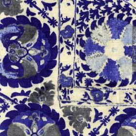 Iznik - Cobalt - 100% viscose fabric in white, printed with bold, detailed, intricate patterns in dark grey and bright shades of blue