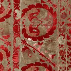 Iznik - Red - Sophisticated fabric printed with detailed, random patterns in rich scarlet and light grey-beige colours
