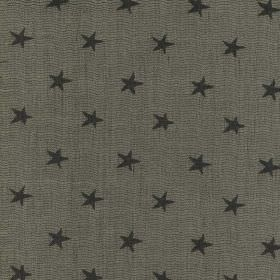 Portobello - Charcoal - Small black stars scattered over a dark iron grey coloured viscose, linen and polyester blend fabric background