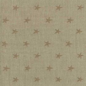 Portobello - Sand - Light brown-grey coloured viscose, linen and polyester blend fabric scattered with small coffee coloured stars