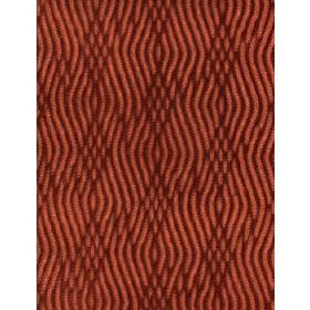 Braque - Orange - Fabric made from dark brown and burnt orange coloured cotton, with a pattern formed from parallel wavy lines which overlap