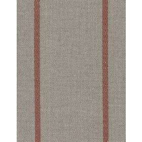 Cape - Red - Diagonally woven linen fabric in grey, with narrow, widely spaced lines in brown-red