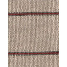 Cheyenne - Natural - Dark grey and burgundy coloured stripes running horizontally at wide intervals on light brown-cream coloured fabric
